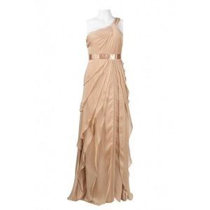 Adrianna Papell Chiffon One-Shoulder Gown